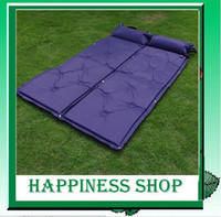 Wholesale amp Retail Blue color Outdoor automatic Air Bed camping bed inflatable Air Mattresses dampproof mat EMS fast shipping