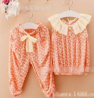 Wholesale 2014 Summer Children Girls Printed Heart Outfits Korean Kid s Ruffle Collar Short Sleeve Tops Set Bowknot Half Pants Sets I0563