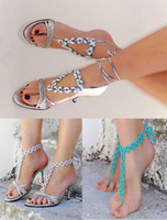 Wholesale 3 STYLE White barefoot sandals Geometric crochet nude shoes Crochet anklets wedding victorian lace sexy lolita yoga Geometry pairs