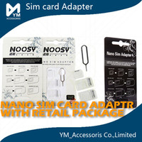 Wholesale 4 In Noosy Nano Micro SIM Adapter Eject Pin For Iphone s c s Galaxy S4 S5 Note Note With SIM Card Retail package Best Quality