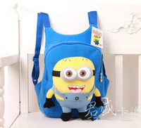 Wholesale Fashion Hot cute despicable me toddler baby boys girls backpack children pp plush minions toy school bag kids backpacks Top grade