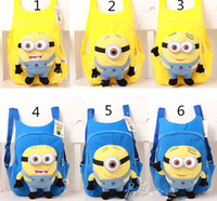 Wholesale Fashion cute despicable me toddler baby boys girls backpack children pp plush minions toy school bag kids backpacks good quality