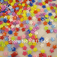 Quilt Accessories Buttons Eco-Friendly,Washable,Nickel-Free 300PCS mixed color plastic Star shape 2 Hloes Sewing Buttons Scrapbooking 12mm Bouton NK01003