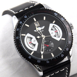 Sport Mens Black Leather Band Date Automatic Mechanical Wrist Watch New Luxury Luxury Automatic Mechanical Date Analog Black Leather Strap