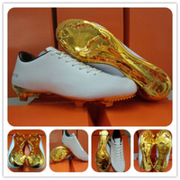 Wholesale Real Pics Cristiano Ronaldo Football Shoes Special Edition New White Gold Soccer Cleats Men s Sports Boots Ball Athletic Shoe Hot Sale