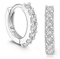 Wholesale Fashion silver Never fade single row diamond earrings E5