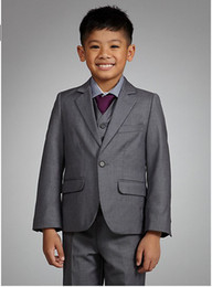 Wholesale Custom Made Boys Formal Occasion Tuxedo One Button Boys Gray Suits