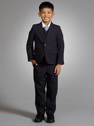 Wholesale Custom Made Single Button Striped Notch Lapel Boy Suits with Vest