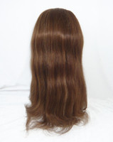 Wholesale Lace Front Wigs Indian Remy Human Hair quot quot silk straight B Off Black Cheap Sexy Lace Wig