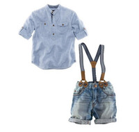 Spring / Autumn baby jeans outfits - Baby Boy s Blue Striped Shirt Suspenders Denim Jeans Pants Children s Two Piece Set Kids Clothing Suit Toddler Outfits Set