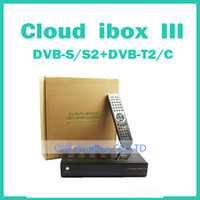 Wholesale 1pc Cloud ibox Satellite Receiver Linux enigma with Twin Tuner DVBS S2 DVB T2 C Support IPTV cloud ibox iii freeshipping