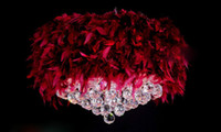Wholesale 55CM modern K9 lustre crystal chandelier light fixture bedroom feather lamp pendant lighting multicolor lampshade Christmas gift