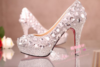 Wedding Heels High Heel 2014 New Arrival Luxury Silver Crystal Rhinestone High Heels Women Party Prom Wedding Shoes Bridal Accessories