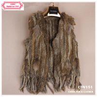 Women V-Neck Short CDV151 2014 New Item Knitted Rabbit Fur Vest With Tassel Without Collar For Women