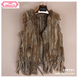 Wholesale CDV151 New Item Knitted Rabbit Fur Vest With Tassel Without Collar For Women