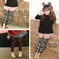Jeans Girl Summer 2013 100% girls clothing cotton leopard print legging skinny pants boot cut jeans baby trousers