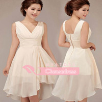 arrival just - 2015 New Arrival A Line Sheer Chiffon Cocktail Dresses With V Neck Ruched Skirt Short Mini Party Prom Gowns Just Custom Made For You