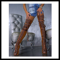 Wholesale Ladies Over The Knee Sexy Women Boots Lace Up Thigh High Boots Plus Size Gladiator sandal boots