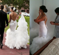 Trumpet/Mermaid bare back dress - 2014 Steven Khalil White Tulle Bare Back Mermaid Wedding Dress Beach Bridal Gown Sheer Straps Tiers Pleated Sweep Train Custom Made