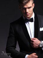 Wholesale 2014 hot sale pure black men s dress Groom Tuxedos Best Man Peak Lapel Groomsmen Men Wedding Suits Bridegroom