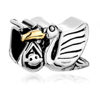 Metals Angel Silver New arrival 925 silver Vivid Stork Sending Cute Mother's Baby Charm Bracelet European Bead European Bead Bracelets 200pcs Lot CP0291