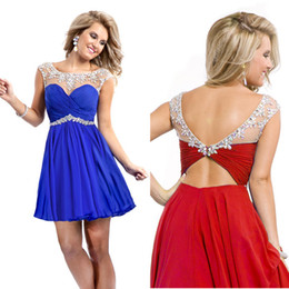 Wholesale New Under Sheer Homecoming Dress Crystal Vintage Cheap Royal Blue Red Cap Sleeves Short Party Dresses Prom Sexy th Cocktail Gowns