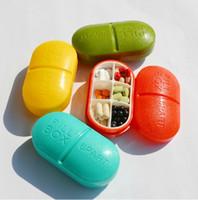 Wholesale Salable Portable Slot Round Medicine Case Medical Pill Box Drug Pill Case We send color randomly