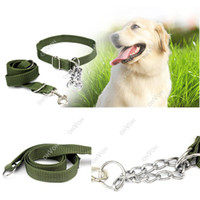Leashes dog collars and leashes - S5Q Army Green Adjustable Pet Dog Collar With Chain Harness and Leashes Set AAACWW