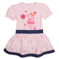 Wholesale kids peppa pig dress Nova cute baby girl clothes pink cartoon tutu casual dresses for summer H4842