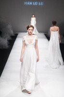 Wholesale 2015 New York Fashion A line wedding dresses white chiffon V neck backless sleeveless sweep train runway bridal gowns with short bolero