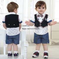 Boy Summer Short Baby Suit Kids Sets Toddler Clothes Infant Short Sleeve T Shirts Boys Waistcoat Summer Shorts Children Set Kids Suit Outfits Child Clothing