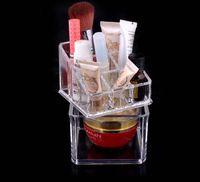 Plastic acrylic makeup organizer - 9 x9 x13 cm clear acrylic makeup organizer box cosmetic organizer cases lipstick brush jewelry storage holder cabinet K07559