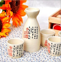 Wholesale Ceramic Japanese Sake Set Bottle and Cup Wine Set w Asian Calligraphy Orchid Pavilion Dragon Family Names Double Happiness Luckiness Design