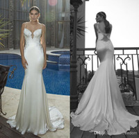Trumpet/Mermaid Model Pictures Spaghetti Wholesale - Backless Galia Lahav 2014 Wedding Dresses With Spaghetti Appliques Lace Mermaid Court Train Stretch Satin Customed Sexy Church B