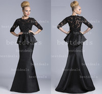 black Vintage Mother Of The Bride Dresses 2014 Illusion Crew...