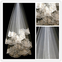 Wholesale 2014 Retro Champagne bulk Applique yarn peony three meters long trailing new lace wedding Bridal veil Cheap But In High Quality st white