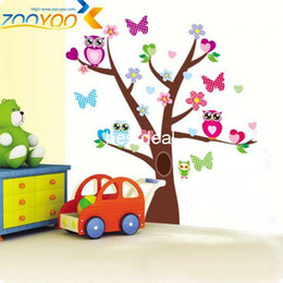 wise owls on colorful tree wall stickers for kids rooms ZooYoo1006 decorative adesivo de parede removable pvc wall decal