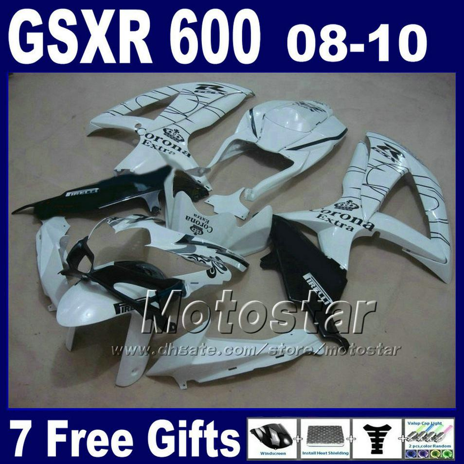 Buy Low price Fairing kit SUZUKI 08 09 10 GSX-R 600/750 K8 2008 2009 2010 GSXR 750 600 white black Corona ABS fairings set BT40+7 gifts