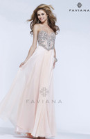 Wholesale 2014 Backless Prom Dresses Chiffon skirt featuring decorative beading on a Mesh bodice Graduation Gowns