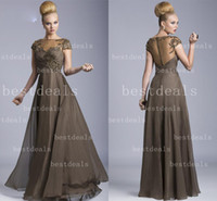 Wholesale 2014 brown sheer high neck Mother Of The Bride Dresses Crystals Beaded Chiffon Illusion Back Cap Sleeve Formal Evening Gowns Janique W325