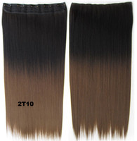 Wholesale New Fashion quot Women Clip in on Hair Ombre Hair Extensions Two Tone Straight Gradient Hair Extension Colorful Hairpieces T