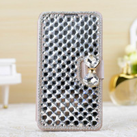 Wholesale Luxury Bling Diamond PU Leather Case For Samsung Galaxy S5 With Card Holder Wallet Bag Luxury Cover