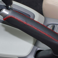 Wholesale Handbrake Cover For Honda Civic Civic XuJi Car Special Hand stitched Black Genuine Leather Handbrake Covers