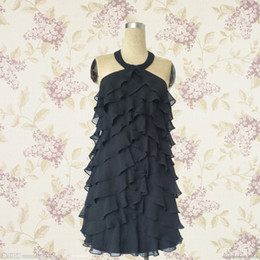 Wholesale Charming black chiffon halter cocktail dress