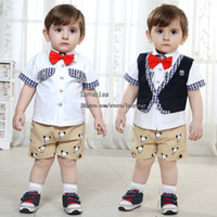 Boy Summer 100% Cotton Children Set Kids Suit Outfits Boys Clothes White T Shirts Baby Waistcoat Summer Shorts Child Suit Kids Sets Infant Outfits Baby Clothing