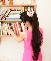 Wholesale Latest styles quot G Silky wavy india blended human hair Ponytail Hair black t33 deep brown t30 light brown