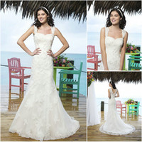 Cheap 2014 Ivory Mermaid Elegant Wedding Dresses Lace Applique Spaghetti Straps V Back Buttons Sequin Beading Bridal Gowns Sincerity Bridal 3770