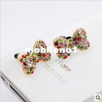 Earphone Jack Plugs 3.5mm  Min.order is $10 (mix order) Free Shipping Cell Phone Accessories Phone Jewelry Pearl Bow Dust Plug Cute