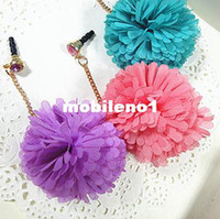 Earphone Jack Plugs 3.5mm iPhones/HTC/SUMSANG Min.order is $10(Mix order) Free Shipping Cell Phone Accessories Phone Jewelry Chiffon Flower Dust Plug