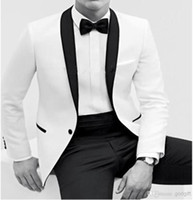 Reference Images Wool Blend Autumn/Spring One button White serge White & Black Suit with Black Satin Lapels Groom Tuxedos Handsome Man Groomsmen Wedding Suits Bridegroom